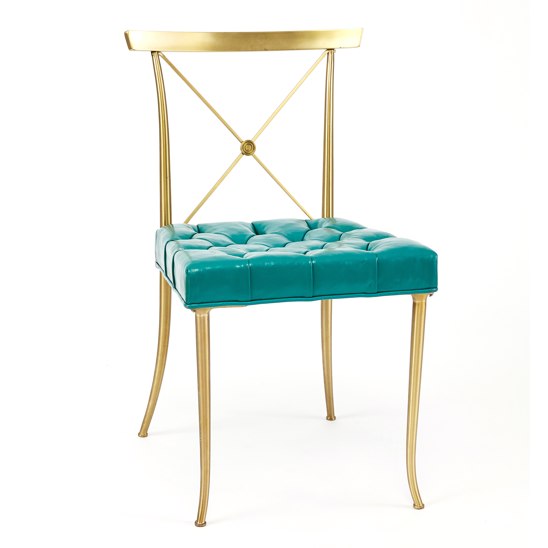 Genial Pair Of Brass Billy Haines Chairs With Turquoise Tufted Leather