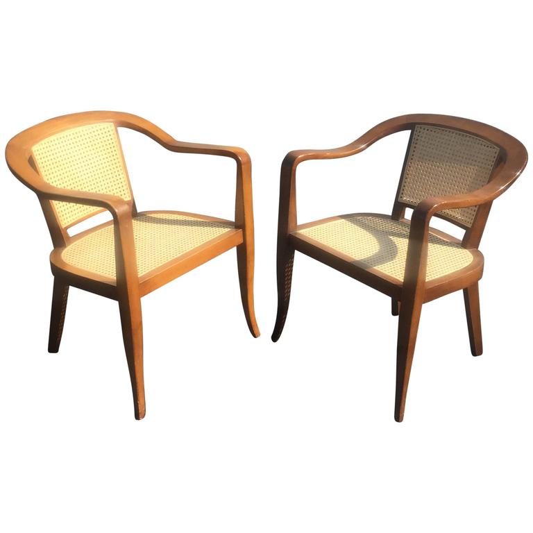 Pair Of Mid Century Cane And Walnut Chairs In The Style Of Edward Wormley