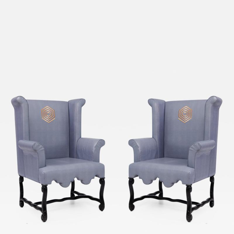 Pair Of Kelly Wearstler Wingback Chairs